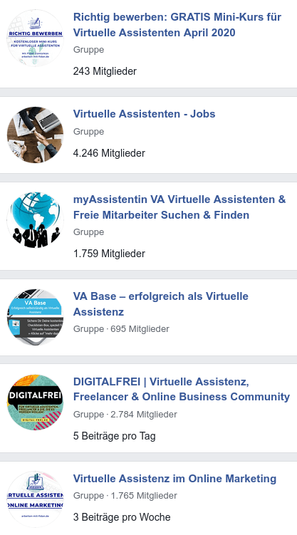 Virtuelle Assistenz Gruppen auf Facebook