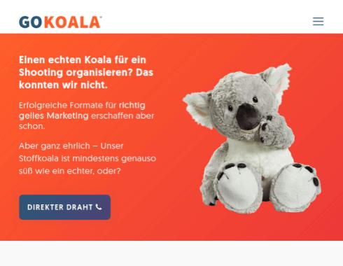 Startseite des Webauftritts GoKoala.
