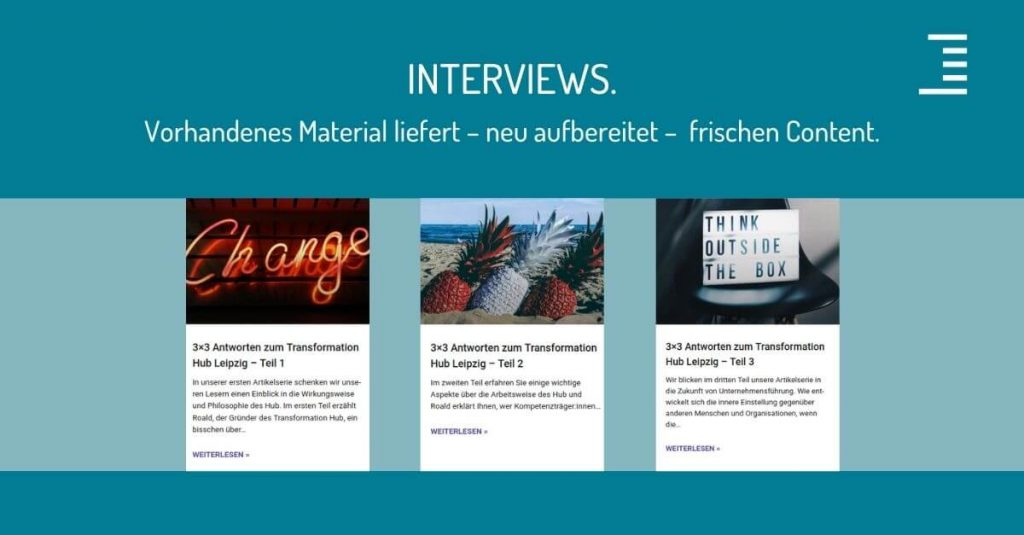 Corporate Blog altes Material fuer neue Blogbeitraege