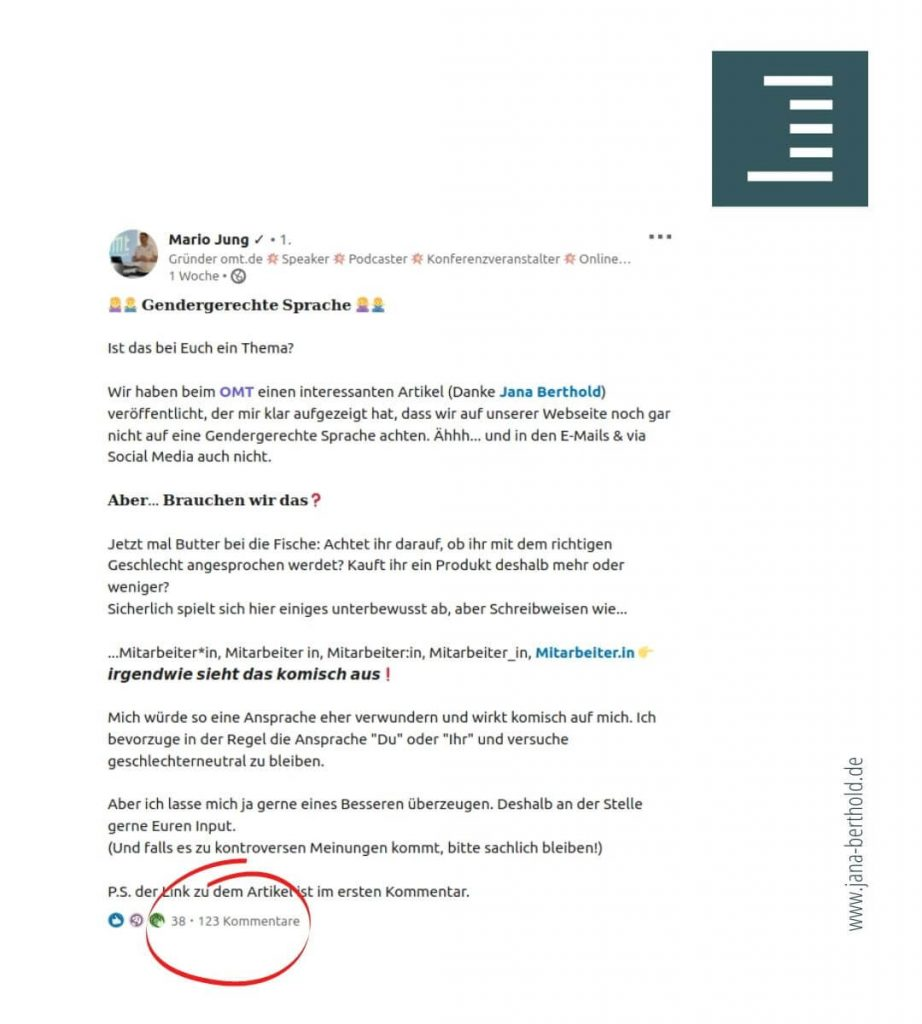 LinkedIn-Diskussion zu gendergerechter Sprache