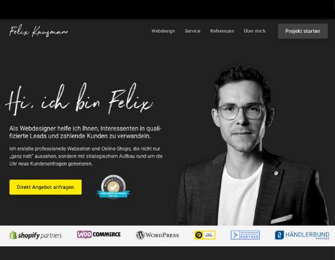 Startseite Referenzprojekt Webdesigner Felix Kausmann