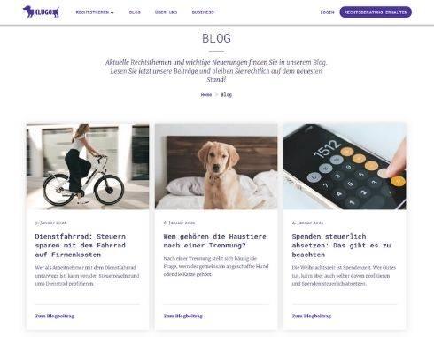Startseite Referenzprojekt Blog Rechtsberatung Klugo